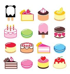 Dessert icons set - cake macaroon ice-cream icon vector image vector image