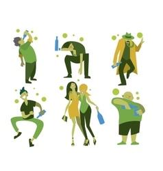 Drunk people men and women vector image