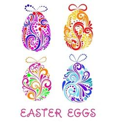 Floral decorative patterned Easter Eggs vector image