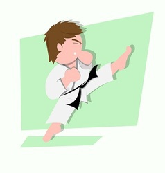 funny little kids do some karate kick vector image vector image