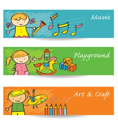Kids Music Art Playground Banner vector image