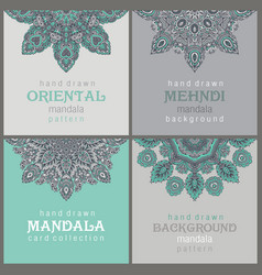 set of four cards or flyers with abstract henna vector image