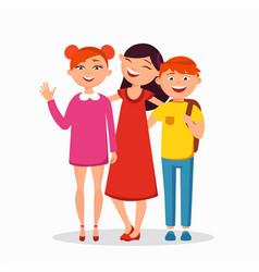 three children standing and hugging flat vector image vector image