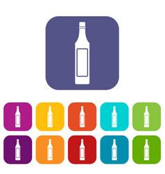 vinegar bottle icons set flat vector image vector image