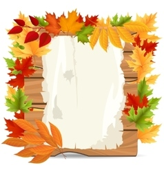 Autumn leaves and paper wood banner vector image vector image