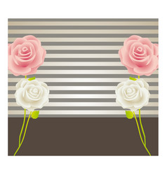 colorful background with roses and striped lines vector image