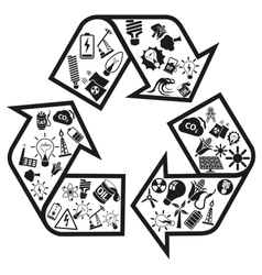 Energy and resource icons in recycle arrow vector image