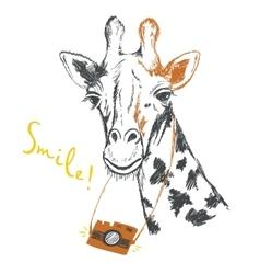 Fun sketch of a giraffe photographer vector