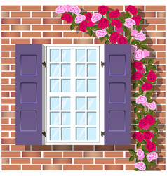 window on brick wall background vector image vector image