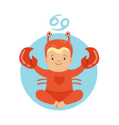 cute little boy as cancer astrological sign vector image vector image