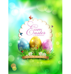 easter background with eggs grass and round card vector image