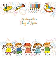 Kindergarten Kids and Playground Frame vector image vector image