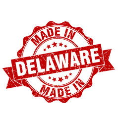 Made in delaware round seal vector