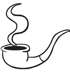 simple black and white smoking pipe vector image vector image