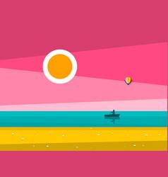sunset ocean landscape sunrise sea with man on vector image vector image