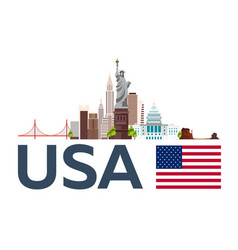 travel to usa new york skyline statue of liberty vector image