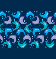 abstract dolphin seamless pattern in kid-style vector image