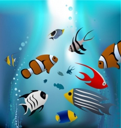 cartoon tropical fishes vector image vector image