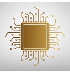 CPU Microprocessor Flat style icon vector image