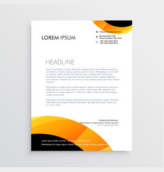 letterhead design in yellow black colors vector image