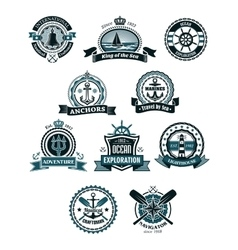 Marine icons and badges with nautical symbols vector image vector image