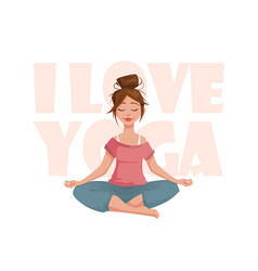 the girl in the lotus pose meditates vector image