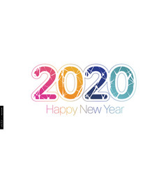 2020 happy new year minimalist colored text on a vector image