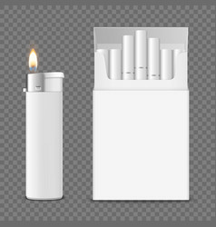 3d realistic opened clear blank cigarette vector