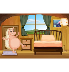 A molehog at the bedroom vector image