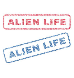 Alien life textile stamps vector