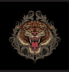 angry tiger head logo with ornament swirl vector image