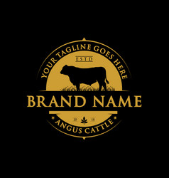 Angus cattle farm label design vector