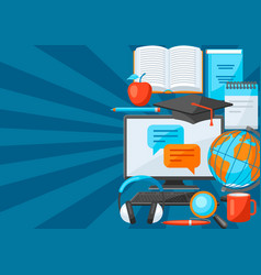 background with online studying at home items vector image