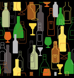 Bar colorful pattern with alcohol bottles vector