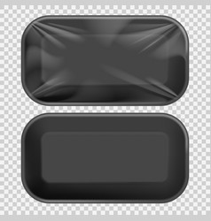 black styrofoam food tray pack vector image