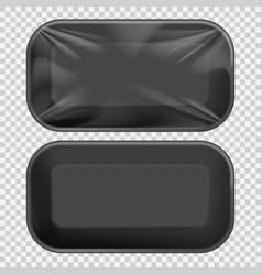 black styrofoam food tray pack vector image