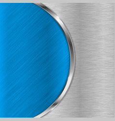 blue metal brushed texture with chrome elements vector image