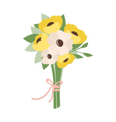 bouquet of white and yellow flowers tied together vector image