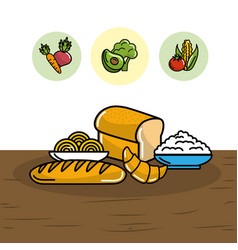 Breads with spaghetti and flour nutritions vector