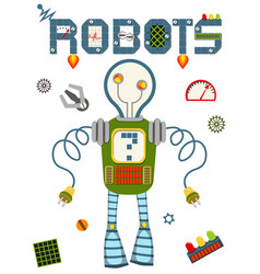 bright colorful poster with vintage robot and tech vector image
