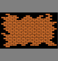 broken red brick wall background vector image