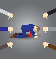 Businessman kneeling and getting thumps down from vector