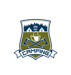 Camping adventure camp tent icon vector