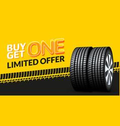 Car tire sale banner buy 1 get 1 free car tyre vector