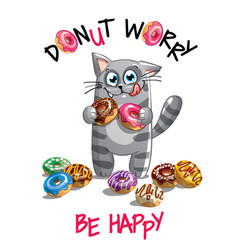 Cartoon cat with donuts vector