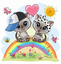 Cartoon kittens are sitting on rainbow vector