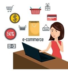 Cartoon woman laptop e-commerce isolated design vector