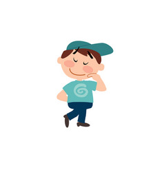 Character of a shy white boy with blue cap vector