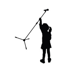 Child silhouette with microphone vector