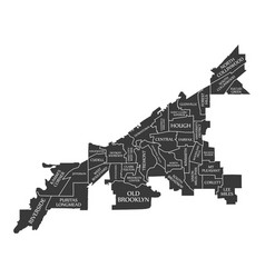 Cleveland ohio city map usa labelled black vector